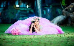 Картинка девушка, цветы, стиль, настроение, розы, букет, платье, невеста, венок