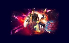 Картинка взгляд, космос, звезды, фон, фантастика, робот, актер, мужчина, киборг, Doctor Who, Доктор Кто, ТАРДИС, TARDIS, …