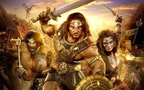 Картинка война, драконы, герои, age of conan hyborian adventures
