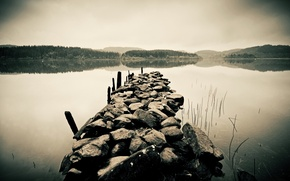 Обои горизонт, водоём, камни, лес