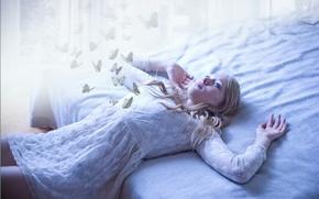 Картинка девушка, бабочки, Dream
