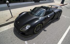 Картинка чёрный, Porsche, Porsche 918 Spyder, Wrapped Porsche 918 Spyder