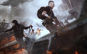 Обои оружие, дома, паника, стрельба, Deep Silver, машины, дым, мужчина, крик, Homefront: The Revolution