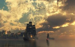 Обои крепость, вода, корабль, облака, огонь