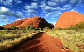 Обои дорога, песок, небо, облака, растительность, Австралия, Australia, лазурное, Walpa Gorge, ущелье Валпа