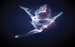Обои девушка, дым, танец, smoke dancer
