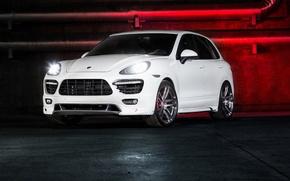 Картинка Porsche, white, Vorsteiner, front, Cayenne, 958