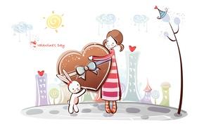 Картинка сердце, рисунок, заяц, девочка, love, валентинка, деревце