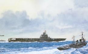 Картинка корабль, арт, авианосец, флот, военный, японский, эсминец, WW2, destroyer, aircraft carrier, IJN, Taiho