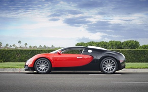 Обои bugatti, veyron, grand, sport, red, black