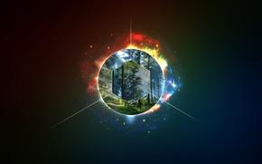 Картинка лес, лучи, минимализм, forest, шестигранник, line