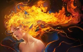 Картинка девушка, огонь, клыки, вампир, sakimichan