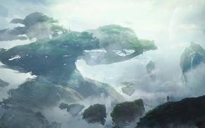 Обои остров, древо, дерево, человек, Tree of Life, облака, небо, фантастика, пейзаж