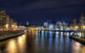 Картинка ночь, огни, река, Paris, france, Hôtel de Ville