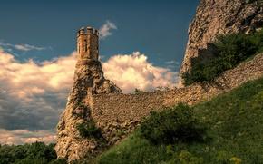Картинка небо, облака, скалы, Замок, sky, clouds, castle