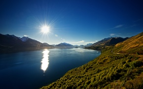 Картинка горы, природа, озеро, Новая Зеландия, New Zealand, Lake Wakatipu