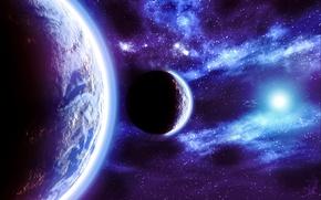 Обои Планеты, Fractal Space, Звезды, Space, Blue, Свечение, Свет