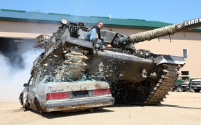 Картинка машина, человек, танк, пушка