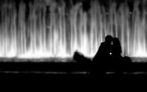 Обои влюблённые, любовь, парочка, kiss, hug, lovers, поцелуи, couple, настроение, mood, pair, поцелуй, объятия