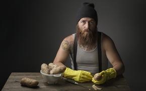 Картинка нож, мужчина, картошка