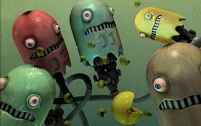 Обои страх, металл, pac man, роботы, глаза, пакмен