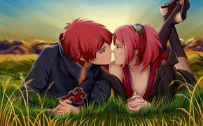Картинка трава, девушка, закат, повязка, парень, ниндзя, Naruto, art, розовые волосы, Sakura Haruno, Akasuna no Sasori, …