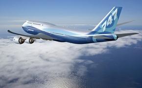 Картинка New Aircraft, In flight, Boeing 747-8 Intercontinental