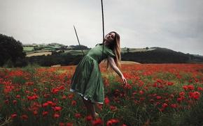 Картинка поле, девушка, маки, верёвка