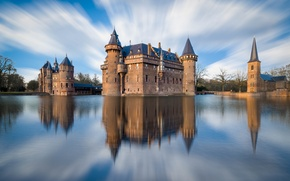 Картинка отражение, Де Хаар, Утрехт, город, замок, Нидерланды, небо, река, облака