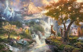 Картинка животные, горы, птицы, природа, река, мультфильм, водопад, Бэмби, красивая, живопись, art, Томас Кинкейд, painting, Walt …