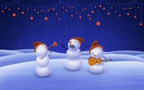 Картинка music, christmas, stars, snowman