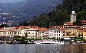 Картинка море, лес, горы, город, фото, дома, Италия, Ломбардия, Белладжо