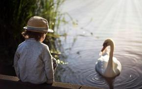 Обои мальчик, лебедь, озеро