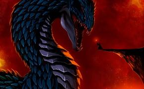 Картинка взгляд, скала, фантастика, дракон, человек, арт, посох