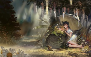 Картинка лес, цветы, зонтик, аниме, арт, девочка