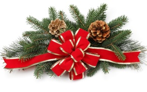 Картинка украшения, ветки, красный, праздник, новый год, белый фон, хвоя, бантик, шишки, декор, обои от lolita777