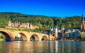 Обои city, summer, sky, bridge, Germany, castle, sunny, Heidelberg, Old Bridge, Neckar River, The Karl Theodor ...