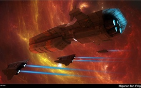 Картинка космос, космический корабль, Higaran ion frigate