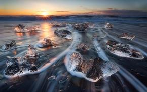 Картинка волны, лёд, Исландия, прилив, Март, Ватнайёкюдль, Breiðamerkurjökull, Vatnajökull National Park