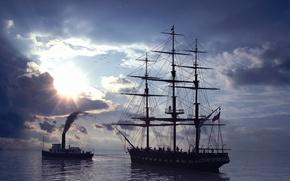 Обои Море, победа прогресса над экологией, буксир