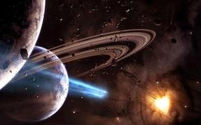 Обои 152, звезда, астероид, планеты