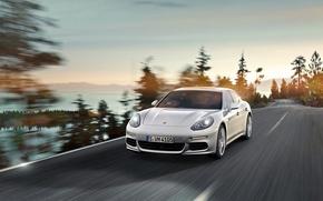 Картинка Авто, Дорога, Белый, Porsche, Капот, Panamera, Фары, Порше, В Движении, E-Hybrid