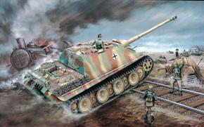 Обои рисунок, вторая мировая, немцы, сау, вермахт, Jagdpanther, Sd.Kfz. 173, ягдпантера, самоходно-артиллерийская установка, истребитель танков