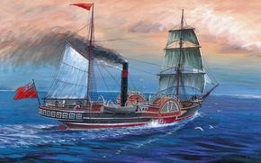 Картинка мебель, корабль, арт, порт, пароход, художник, дрова, переход, флот, уголь, начало, первый, командир, мачты, Сириус, …