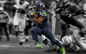 Картинка игра, американский футбол, Football, NFL, атлет, Seattle, runnerback, ранербэк, Marshawn Lynch, Seahawks