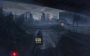 Картинка поезд, макото синкай, пять сантиметров в секунду