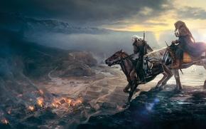 Картинка Ведьмак, The Witcher 3: Wild Hunt, лошади, всадник, город