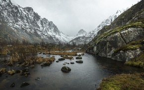 Картинка river, winter, mountains, fog