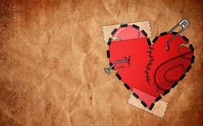 Обои минимализм, 155, любовь, заплатки, сердце