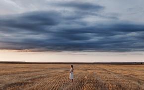 Картинка поле, лето, девушка, закат, платье, горизонт, light, стоит, sky, beautiful, beauty, classic, color, Арина, Ivan …
